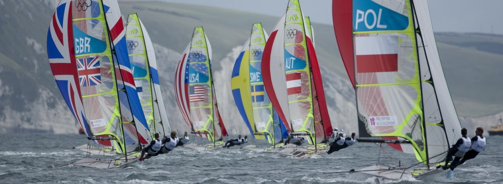 Fleet, competing today, 30.07.12, in the Men's Skiff (49er) event in The London 2012 Olympic Sailing Competition.
